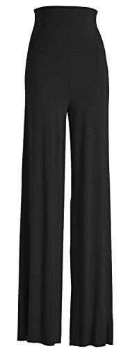 VIV Collection Women's Solid Wide Leg Palazzo Soho Gaucho Pants (Large, Black) (Wide Leg Pants Women compare prices)