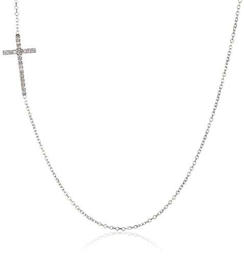 "Kc Designs ""Faithfully Yours"" 14K White Gold And Diamond Side Cross Pendant Necklace, 18"""