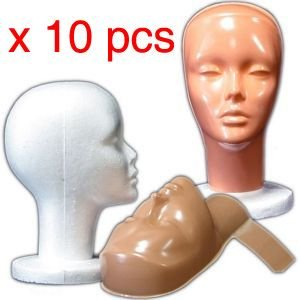 10 PIECES Female Styrofoam Mannequin Head with Non-Makeup Mask