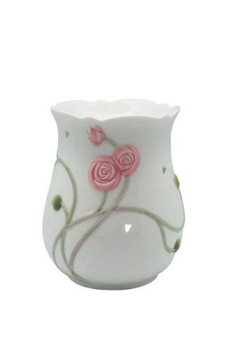 4.25 inch White Porcelain Art Nouveau Scrollwork Rose Coffee Warmer