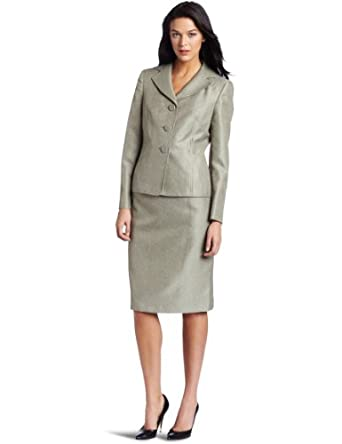Lesuit Women's Twill Skirt Suit, Sage, 6
