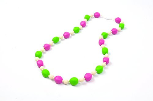 Bitey Beads Silicone Teething Nursing Necklace Multi Color (Girly Girl)