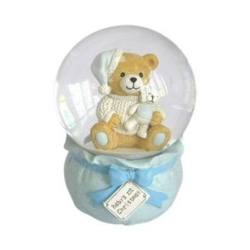 St. Nicholas Square Baby's First ChristmasTeddy Bear Musical Snowglobe – Blue