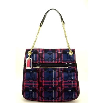 Coach Poppy Tartan Plaid Slim Zip Tote Handbag 21136 Multi front-603457