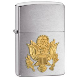 Zippo Army Emblem Lighter Brushed Chrome Finish Gold Tone U.S. Army Emblem Front