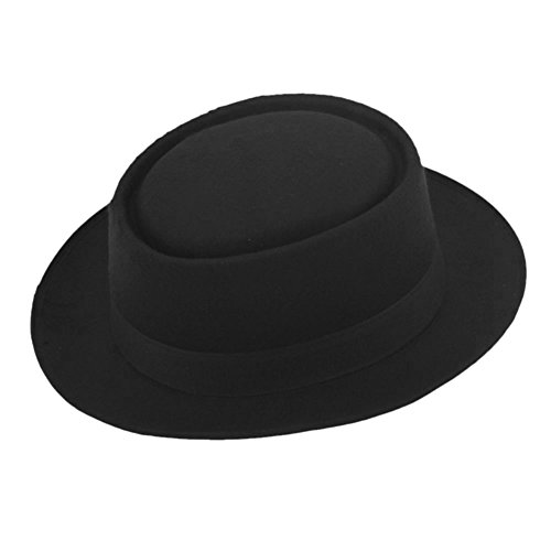 ZHENXIA Vintage Hard Felt Wool Pork Pie Hat Flat Top Rocker Fedora Cap Black