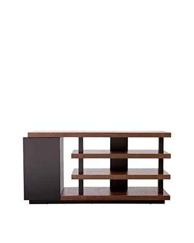 Urban Spaces Tampa 45 TV/Media Console, Dark Walnut/Black Matte