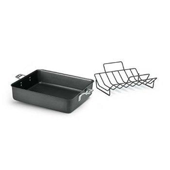 "5 X Calphalon Hard Anodized Aluminum Nonstick Cookware Roaster, 13"" by 16"", Black"