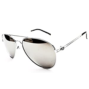 Outray Classic Style Metal Aviator Sunglasses (Mirrored, Silver)