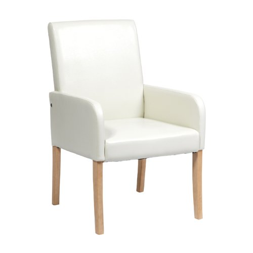 BRAND NEW OCCASIONAL CHAIR IN CREAM FAUX LEATHER