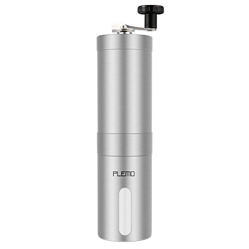 Plemo Manual Coffee Grinder, Conical Ceramic Burr Coffee Bean Grinder, Brushed Stainless Steel, Easy to Clean and Use