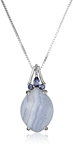 Sterling Silver Blue Lace Agate and Iolite Pendant Necklace