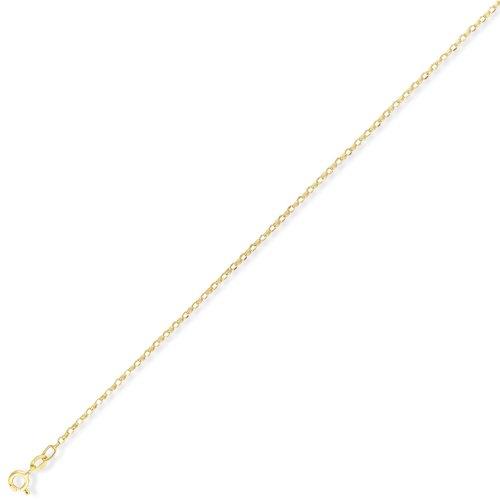 Jewelco London 9ct Light Yellow Gold - - Premium Quality Diamond-Cut Oval Belcher Chain - 24