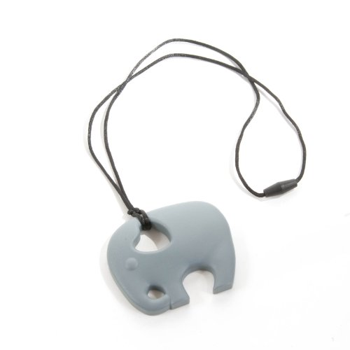 Sassy Baby Beads Chew Teething Nursing Pendant Necklace - Gray Elephant front-939430