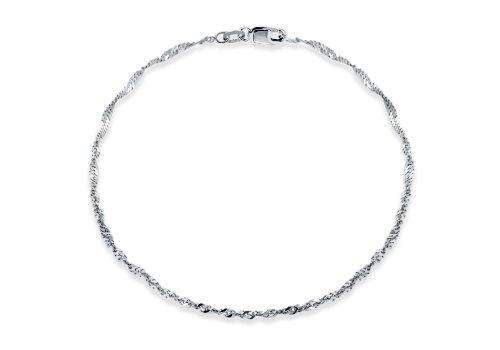 9ct White Gold Diamond Cut Twist Curb Chain Bracelet 19cm/7.5