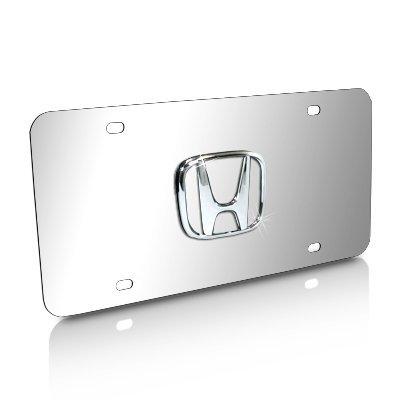 Honda 3D Logo Chrome Steel License Plate (Honda License Plates compare prices)