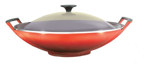 Le Creuset Cast Iron Wok with Glass Lid, Volcanic, 36 cm
