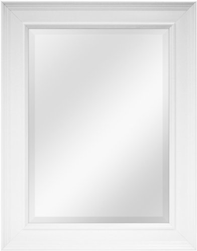 MCS White Grooved Beveled Rectangular Wall Mirror, 21-Inch by 27-Inch