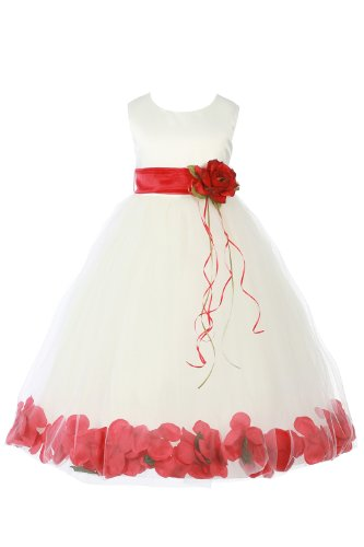 Jm Dreamline Ivory/Red Girls Sleeveless Satin Flower Petal Dress With Sash-8