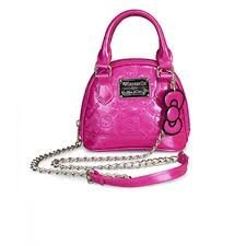 hand-bag-hello-kitty-bright-rose-shiny-patent-micro-dome-with-metal-chain-by-hello-kitty