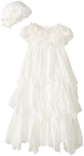 Biscotti Baby-Girls Christening Gown And Bonnet, Antique White, 3-9 Months