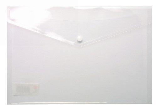 1 x DIN A4, Mit Druckknopf, Aus Plastik, Transparent, Dokumententasche, Mit Druckknopf, Mit Druckknopf