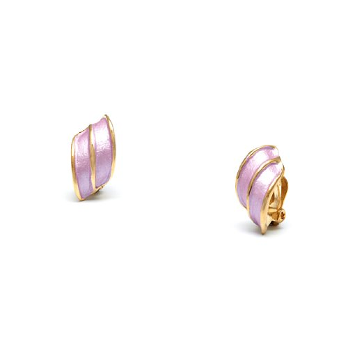 Rodney Holman 18ct Gold Plated Wing Clip On Earrings -Lilac