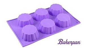 Bakerpan Silicone Muffin Pan, Cupcake Tray, Baking Pan, Flower Shape Mold, 6 Cups by Bakerpan
