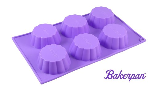 Bakerpan Silicone Muffin Pan, Cupcake Tray, Baking Pan, Flower Shape Mold, 6 Cups (Purple Cupcake Pan compare prices)
