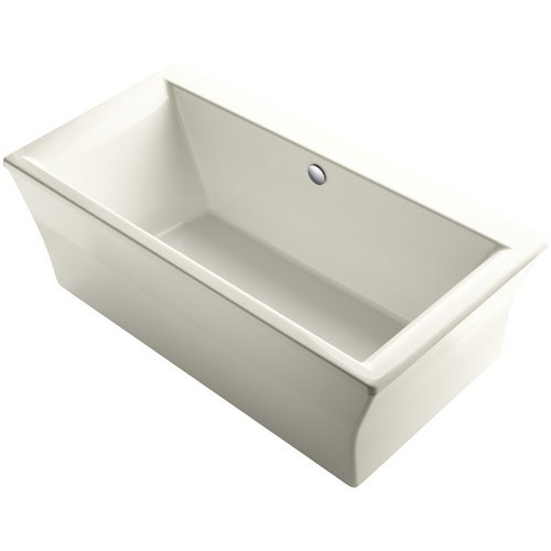 KOHLER-Stargaze-72-Inch-X-36-Inch-Freestanding-Bath-with-Fluted-Shroud-and-Center-Drain-1-Pack