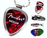 PickBay Chrome Guitar Pick Holder Pendant Necklace w Adjustable Nickel Chain Necklace & PICK Set