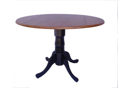 International Concepts T57-42DP 42-Inch Round Dual Drop Leaf Ped Table, Black/Cherry (Round Pedestal Drop Leaf Table compare prices)