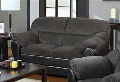 ACME 15956 Connell Loveseat, Dark Grey Corduroy and Espresso PU