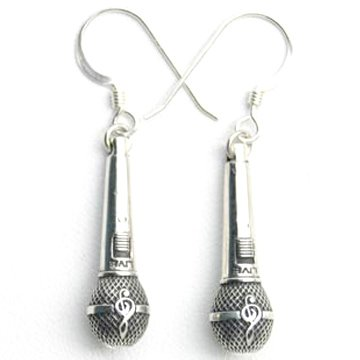 925 Sterling Silver Music Jewelry Medium Microphone Charm Earring