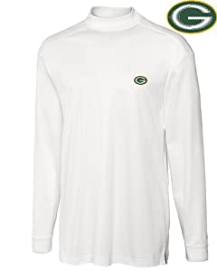 Green Bay Packers Mock Turtleneck Mens Drytec Imperial Mock White by Cutter & Buck