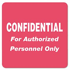 ** Medical Labels for Confidential, 2 x 2, Red, 500/Roll **