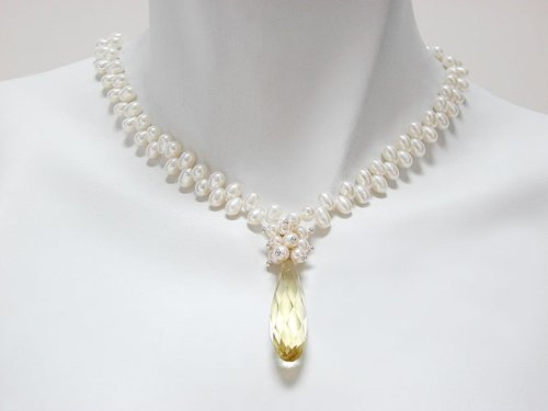 White Freshwater Pearl with Crystal Drop Necklace