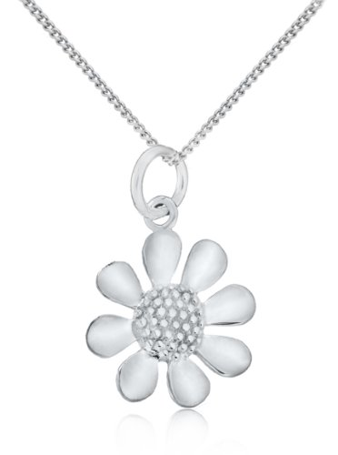 Sterling Silver Daisy Pendant on 18 Inch Curb Chain