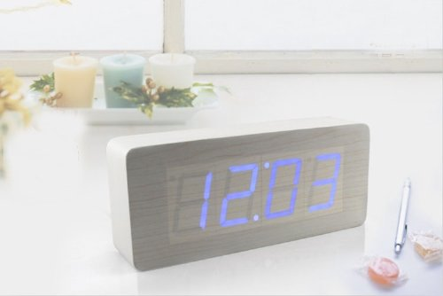 kabb-white-wood-grain-blue-led-light-alarm-clock-time-temperature-and-date-sound-control-latest-gene