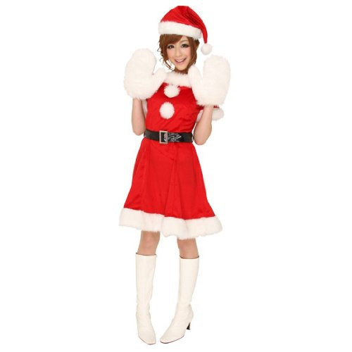 クリスマス・マシュマロサンタ コスプレ3点セット☆(サンタワンピース・ベルト・帽子 3点セット)
