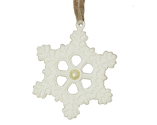 St. Nicholas Square Birthstone Snowflake Ornament June – Pearl