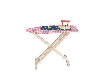 Aufklappbares Kinder-Bügelbrett mit rot/weiß kariertem Stoffbezug + Bügeleisen aus Holz / in 3 Stufen höhenverstellbar / Alter: ab 3 Jahre