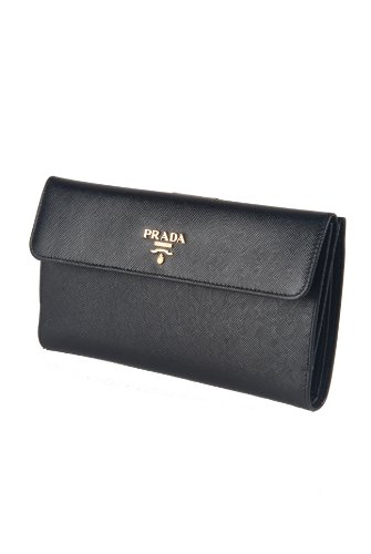 prada Authentic Prada Black Saffiano Leather Deluxe Edition Continental Clutch Wallet