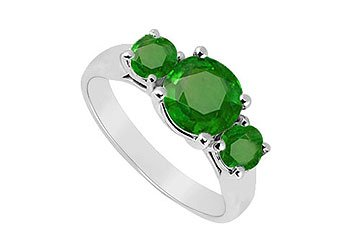 Sterling Silver Emerald Three Stone Ring 1.25 CT TGW MADE IN USA