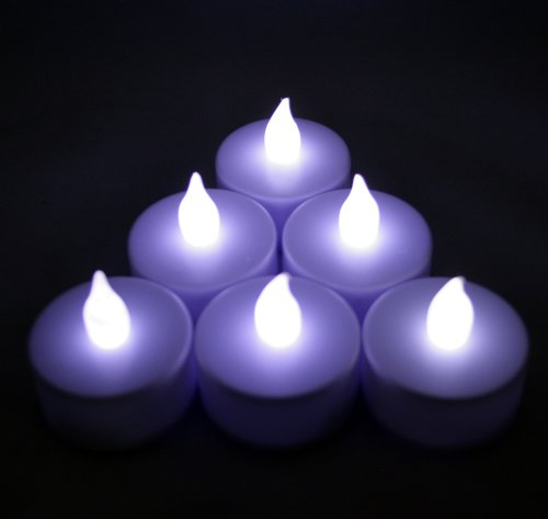 6 Pcs Battery Operated Flameless Led Flickering Tea Lights Candles - Cool White Tealights ~Bluedot Trading