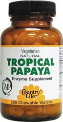 Country Life - Natural Tropical Papaya 25 Mg. - 200 Chewable Wafers