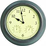 AcuRite 01063 15-Inch Combo Clock with Thermometer and Hygrometer, Copper Patina