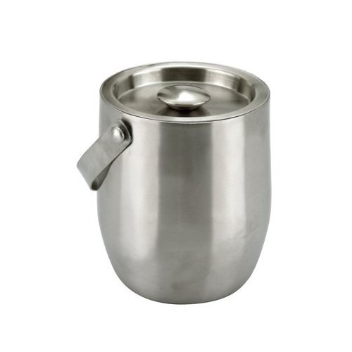 Stainless steel double walled ice bucket with lid and tongs