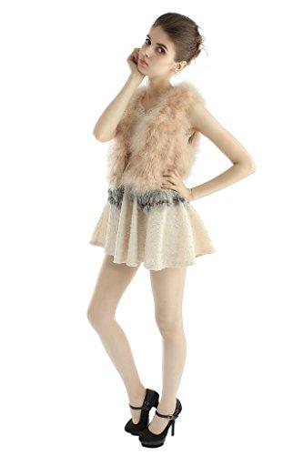 OLLEBOBO Vera Pelliccia Gilet Donna Tacchino Fur Sleeveless con Gonna Moda taglia M beige