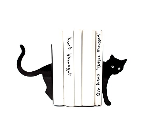 Cat and books bookends. Decorative bookholders. 7.5